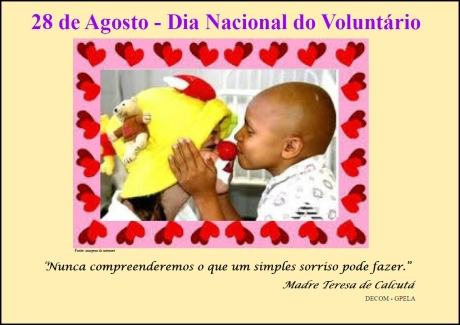 28/08 - Dia Nacional do Voluntariado