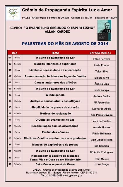 Agosto/14 - PROGRAMAÇÃO DE PALESTRAS