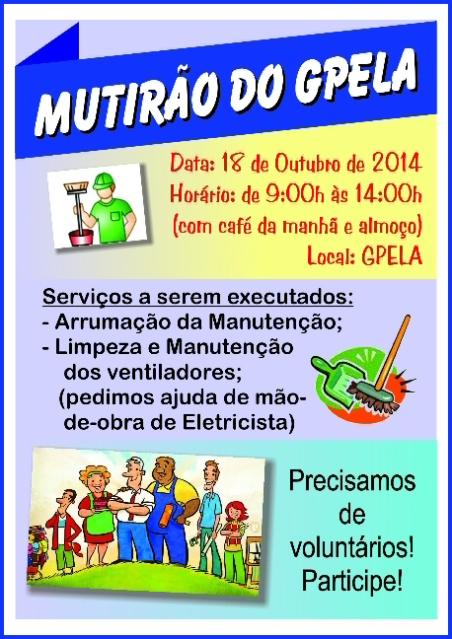 18/10 - Mutirão no GPELA, participe!