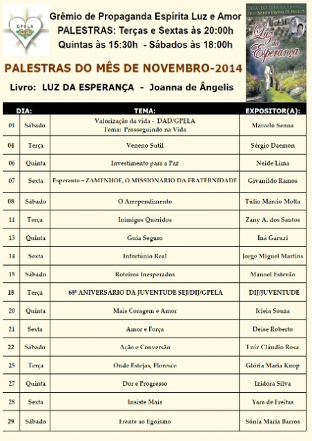 Novembro/14 - PROGRAMAÇÃO DE PALESTRAS