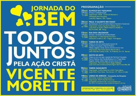 25/10 a 18/12 - Jornada do Bem pela Ação Cristã Vicente Moretti