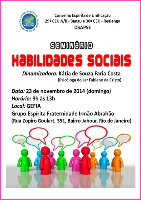 23/11, no GEFIA: Seminário de Habilidades Sociais