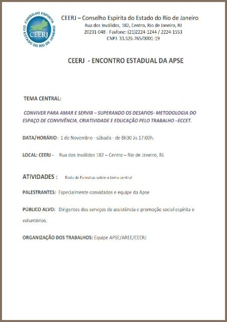 01/11 na CEERJ: Detalhes do Evento