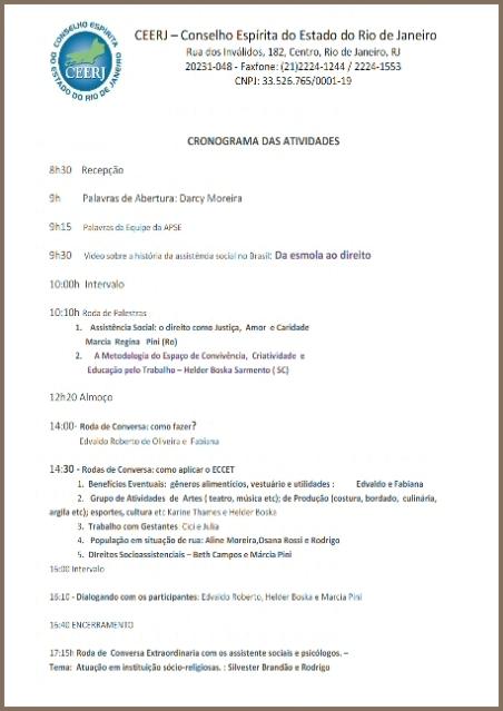 01/11 na CEERJ: Cronograma das Atividades do Evento