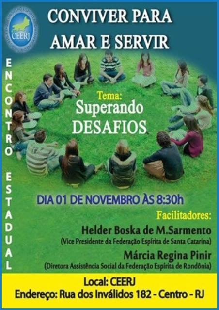 "01/11 na CEERJ: Encontro Estadual ""Conviver para Amar e Servir"" - Superando desafios"
