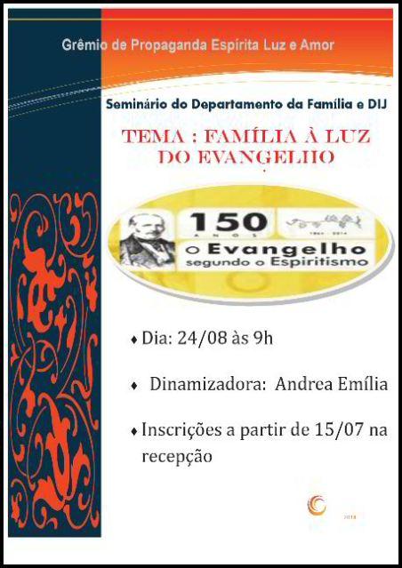 """24/08 - Seminário """"Família à luz do Evangelho"""""""