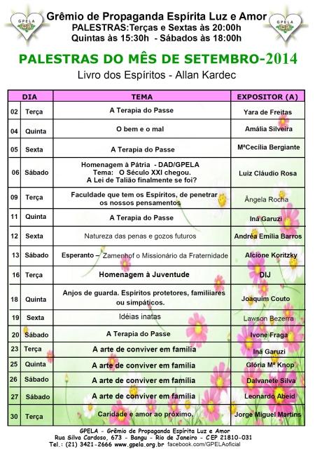 Setembro/14 - PROGRAMAÇÃO DE PALESTRAS
