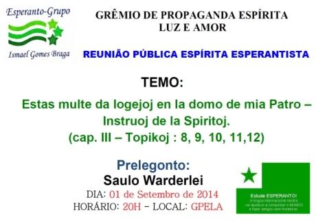 01/09 - Reunião Pública Espírita Esperantista