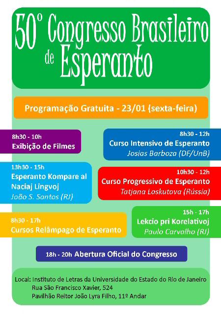 23/01 na UERJ - Congresso Brasileiro de Esperanto