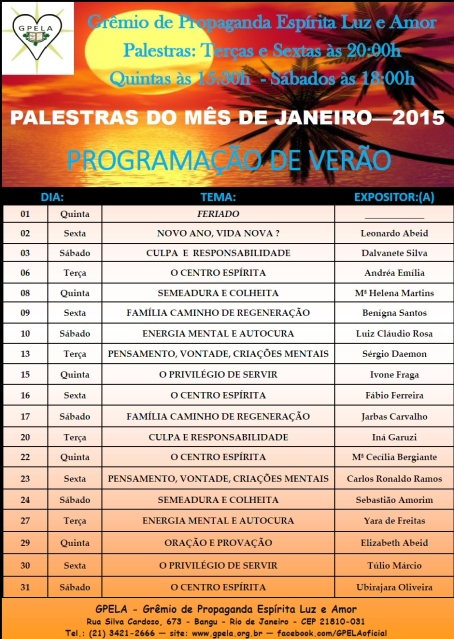 Janeiro/15 - PROGRAMAÇÃO DE PALESTRAS
