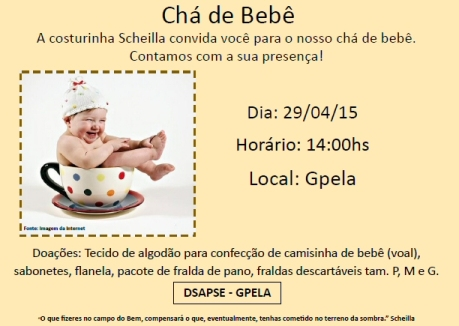 28/04 - Chá de Bebê