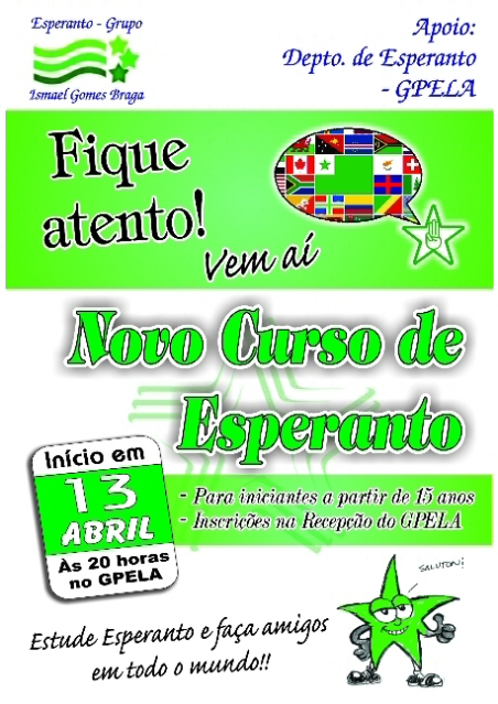 13/04 - Novo curso de ESPERANTO