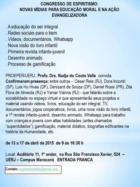 13 a 17/04 - Congresso de Espiritismo