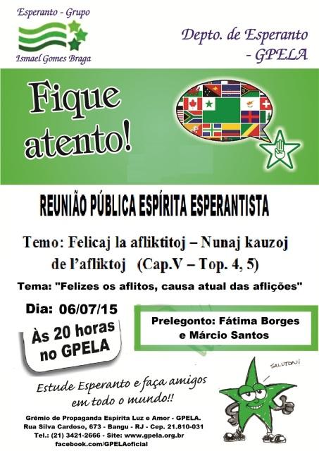 06/07 - Reunião Pública Espírita Esperantista