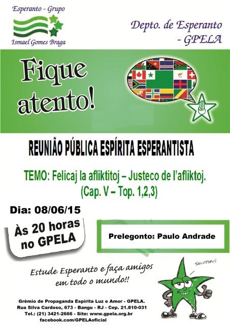 08/06 - Reunião Pública Espírita Esperantista