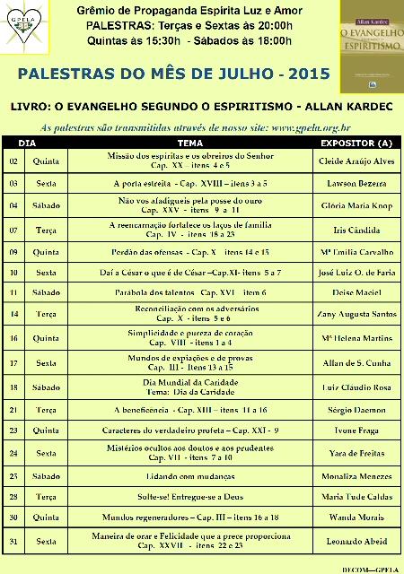 Julho/15 - PROGRAMAÇÃO DE PALESTRAS